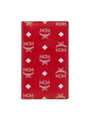 Mcm White Logo Visetos Coated Canvas Passport Holder