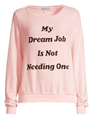 WILDFOX Dream Job Crewneck Pullover Sweater in Romantic