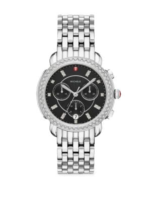 MICHELE WATCHES Sidney Stainless Steel & Diamond Chronograph Bracelet Watch in Black