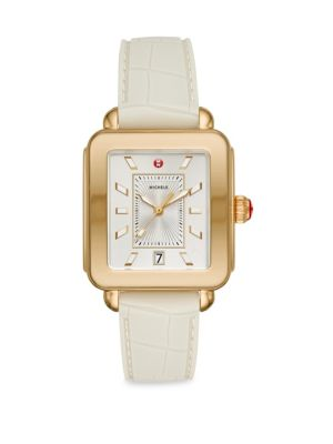 MICHELE WATCHES Deco Sport Goldtone Embossed Silicone Watch in White