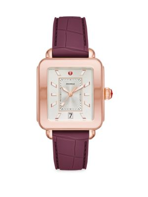 MICHELE WATCHES Deco Sport Pink Goldtone Plum Embossed Silicone Watch in Purple