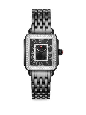 MICHELE WATCHES Deco Madison Mid Noir Ceramic & Diamond Watch in Black