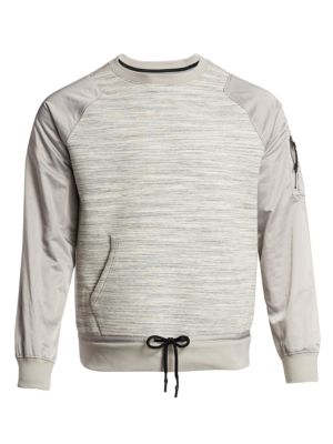 Madison Supply Mixed Media Popover Crew Sweatshirt