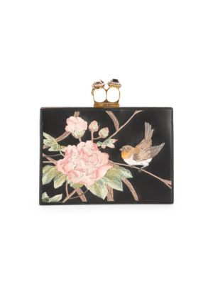 Jewelled Double Ring Leather Clutch by Alexander Mc Queen