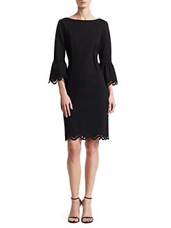 10313211057 Teri Jon by Rickie Freeman. Bell Sleeve Scalloped Sheath Dress