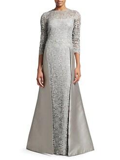 2f60654af4892 Teri Jon by Rickie Freeman. Embellished Floral Lace   Gazar Gown