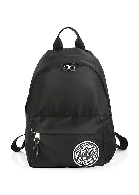 """Image of Embroidered logo patch adorns this backpack. Top handle. Adjustable backpack straps. Two way zip around closure. One exterior front zip pocket. Fully lined. Nylon/polyester. Made in Italy. SIZE.15""""W x 8""""H x 5""""D."""