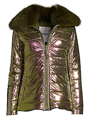 Image of Iridescent puffer with the glamorous fox fur collar makes for a bold outerwear essential. Fox fur spread collar Long sleeves Zip front Waist zip pockets Fully lined Polyamide Fill: Polyester Fur type: Dyed fox fur Fur origin: Finland Dry clean by fur spec