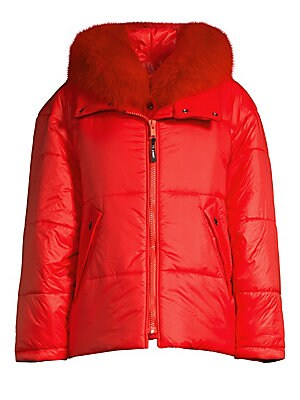 Image of Ultra-cozy puffer jacket with a luxurious removable fox fur trim. Hood with removable fox fur-trim Stand collar with snap closure Long sleeves with ribbed cuffs Zip front with interior snap placket Waist snap welt pockets Lined Polyamide/cotton/elastane F