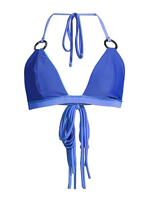 Image of Circular keyholes enhance this two-tone triangle bikini top.V-neck. Spaghetti straps. Self-tie in back. Polyamide/elastane. Hand wash. Imported of Italian fabric. Pleast note: Bikini bottom sold separately.