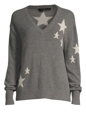 360CASHMERE Jayla Cashmere Lurex Star Sweater in Charcoal Chalk Stars