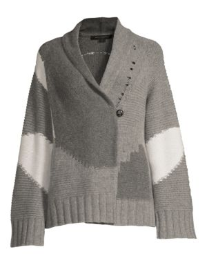 360CASHMERE Issa Cashmere Skull Cardi Jacket in Grey Combo