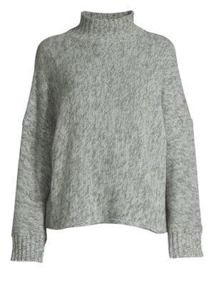 360CASHMERE Cashmere Wide Sleeve Mockneck Sweater in Charcoal Seaform