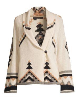 360CASHMERE Koko Bell-Sleeve Cashmere Cardigan in Chalk Multi