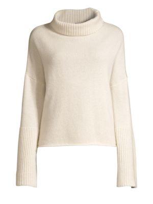 360CASHMERE Lulu Bell Sleeve Turtleneck Sweater in Chalk