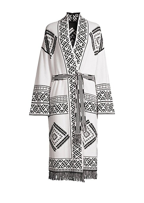 """Image of Abstract print and fringe trim adorns long belted cardigan crafted in a soft wool and cashmere blend. Shawl collar. Long sleeves. Self-tie waist. Fringe trim. Wool/cashmere. Dry clean. Imported. SIZE & FIT. About 45"""" from shoulder to hem. Model shown is 5"""