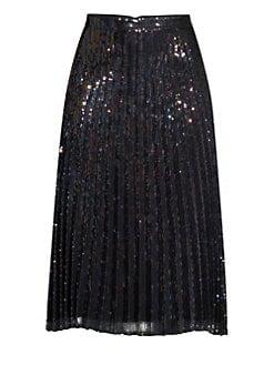 ede083e7be24ac Parker. Citrine Iridescent Sequin Pleated Skirt