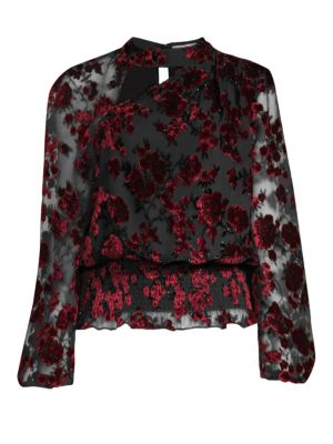 Gavin Shirred Velvet Floral Blouse in Merlot