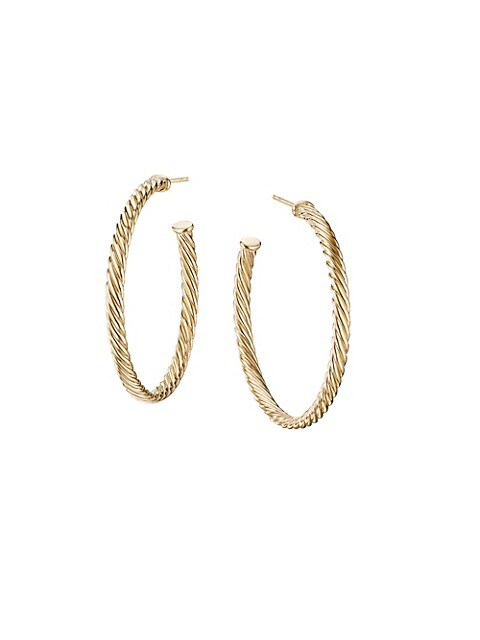 Medium Cablespira Hoop Earrings in 18K Yellow Gold