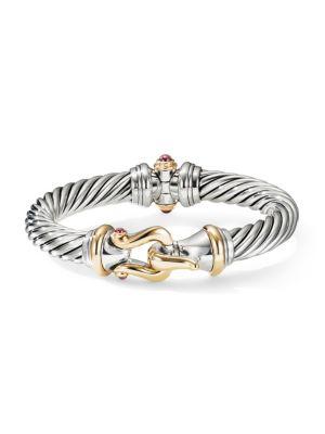 Jewelry & Watches Loyal David Yurman Bracelet 18k Gold Cable Buckle Hook Braclet 3mm Sterling Silver Modern And Elegant In Fashion Fine Bracelets