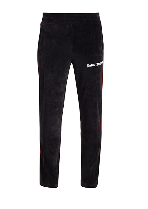 "Image of EXCLUSIVELY AT SAKS FIFTH AVENUE. Crafted of lush velvet, these track pants feature sporty logo styling and contrast trim. Elasticized waist. Pull-on style. Side slip pockets. Cotton/polyester. Dry clean. Made in Italy. SIZE & FIT. Rise, about 13"".Inseam,"