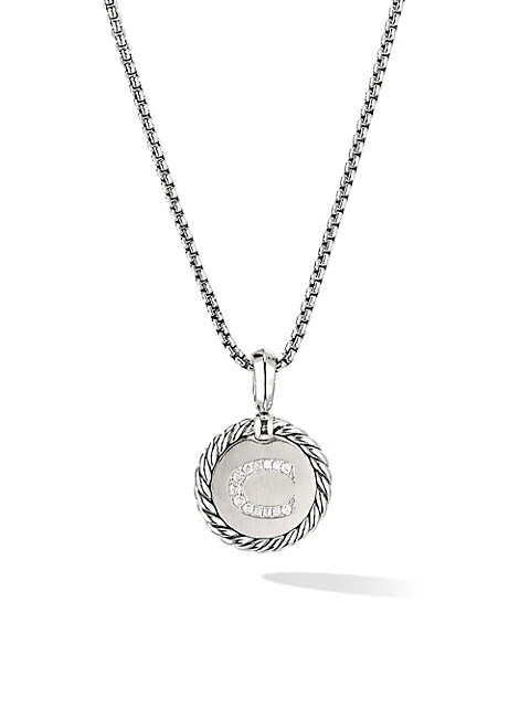 Cable Collectibles® Sterling Silver & Pavé Diamond Initial Pendant Necklace