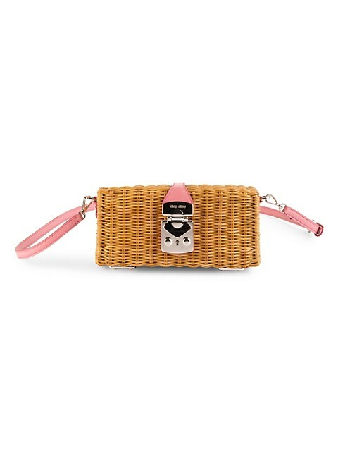 Leather-Trimmed Rattan Box Bag