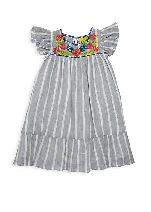 Image of Sweet striped cotton crepe dress enhanced with folksy embroidered flowers at the neckline. Roundneck. Flutter sleeves. Back keyhole button closure. Cotton. Machine wash. Made in Peru.