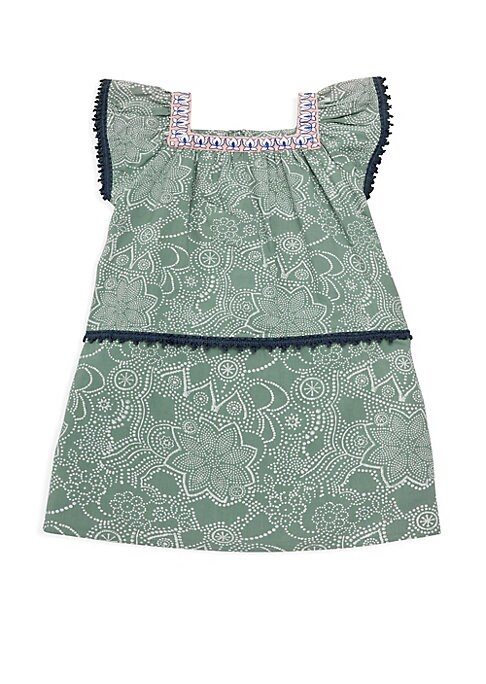 Image of Casual paisley-print cotton dress with delicate lace trim. Squareneck. Cap sleeves. Concealed back zip with button closure. Lace trim. Cotton. Machine wash. Imported.
