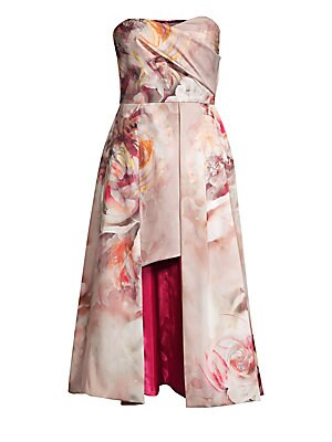 "Image of An artful floral print details this strapless dress in luxe satin finish. Sweetheart neckline Strapless Side seam pockets Concealed back zip closure Polyamide/elastane Dry clean Made in USA SIZE & FIT A-line silhouette About 34"" from shoulder to hem Model"