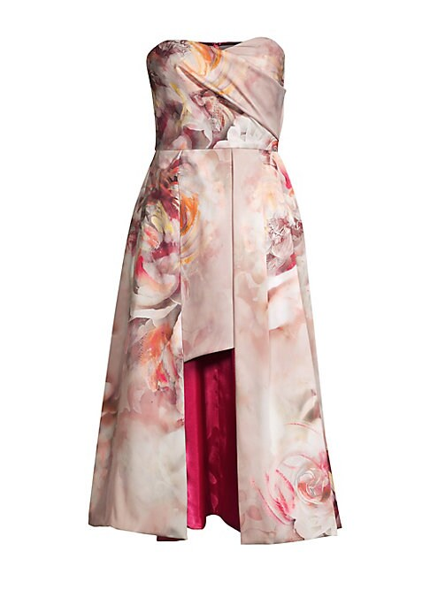 "Image of An artful floral print details this strapless dress in luxe satin finish. Sweetheart neckline. Strapless. Concealed back zip closure. Polyamide/elastane. Dry clean. Made in USA. SIZE & FIT. A-line silhouette. About 34"" from shoulder to hem. Model shown is"