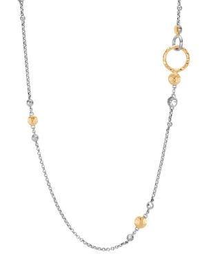 John Hardy Dot 18K Bonded Yellow Gold & Silver Chain Station Necklace