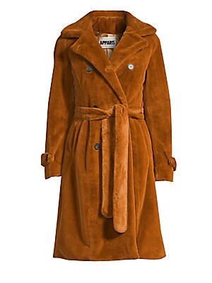 Image of Textured faux fur trench coat with classic styling for an ultra-cozy look. Notch lapel Long sleeves Double-breasted button front Button tab cuffs Self-tie belt Waist slash pockets Storm flap Back vent Lined Acrylic/polyester Fur type: Faux Dry clean Impor