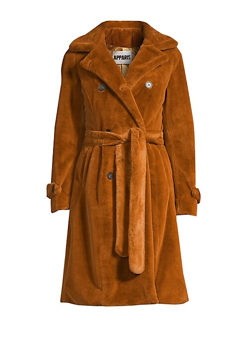 Image of Textured faux fur trench coat with classic styling for an ultra-cozy look. Notch lapel. Long sleeves. Double-breasted button front. Button tab cuffs. Self-tie belt. Waist slash pockets. Storm flap. Back vent. Lined. Acrylic/polyester. Fur type: Faux. Dry