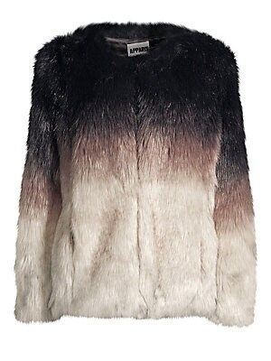 "Image of Luxe faux fur chubby coat in a tri-color ombré effect. Collarless Long sleeves Front hook & eye closure Waist seam pockets Lined Acrylic/polyester Fur type: Faux Dry clean Imported SIZE & FIT Regular fit About 26"" from shoulder to hem Model shown is 5'10"""