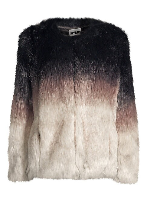 """Image of Luxe faux fur chubby coat in a tri-color ombre effect. Collarless. Long sleeves. Front hook & eye closure. Waist seam pockets. Lined. Acrylic/polyester. Fur type: Faux. Dry clean. Imported. SIZE & FIT. Regular fit. About 26"""" from shoulder to hem. Model sh"""