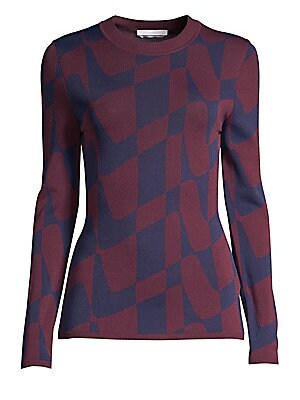 """Image of A bi-color optic wave print enhances this fitted crewneck sweater. Crewneck Long sleeves Ribbed cuffs and hem Pullover style Viscose/polyamide Hand wash Imported of Italian fabric SIZE & FIT About 23.5"""" from shoulder to hem Model shown is 5'10"""" (177cm) we"""