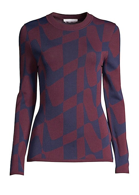 "Image of A bi-color optic wave print enhances this fitted crewneck sweater. Crewneck. Long sleeves. Ribbed cuffs and hem. Pullover style. Viscose/polyamide. Hand wash. Imported of Italian fabric. SIZE & FIT. About 23.5"" from shoulder to hem. Model shown is 5'10"" ("