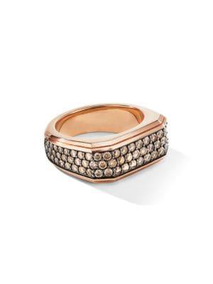 David Yurman The Pavé Collection 18k Rose Gold & Pavé Cognac Diamond Roman Signet Ring