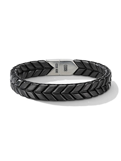 Chevron Wide Woven Black Titanium & Sterling Silver Bracelet