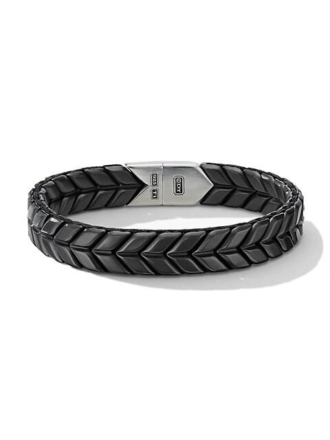 Chevron Wide Woven Black Titanium & Sterling Silver Bracelet