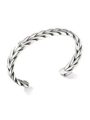 David Yurman Chevron Sterling Silver Woven Cuff Bracelet