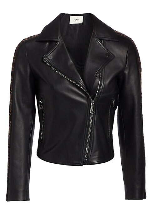 Image of The essential motorcycle jacket is updated with a stripe of signature logo trim running down the arm for a bold street style look. In a luxurious supple leather with traditional styling, this moto jacket has a fitted silhouette designed to skim your curve