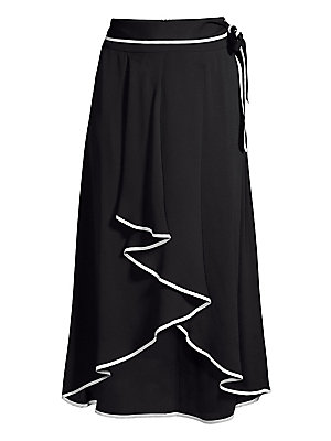 """Image of Cascading high-low hem lends ethereal textures to this midi skirt. Self-tie waist High-low hem Piping trim Acetate/silk Machine wash Made in Italy SIZE & FIT High-low midi silhouette About 40"""" long Model shown is 5'10"""" (177cm) wearing US size 4. Modern Co"""
