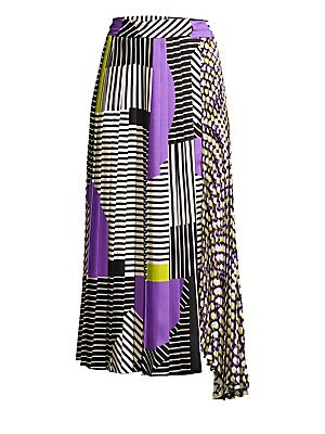 """Image of Contrast prints highlight contrast pleats on this draped asymmetric midi skirt. Tab closure Asymmetric hem Polyester Machine wash Made in Italy SIZE & FIT About 30"""" long Model shown is 5'10 (177cm) wearing US size 4. Modern Collecti - Wear Collections > S"""