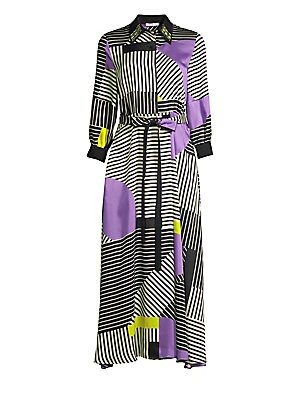 Image of A crystal embellished collar puts the finishing touch on this full-skirted dress boasting a mesmerizing print that's part colorblock, part stripe. Point collar Three-quarter length sleeves Concealed front button placket Dropped shoulders Self-tie at waist