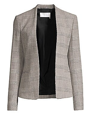 """Image of Elegant glen check jacket lends a timeless element to this open front jacket. Long sleeves Buttoned cuffs Open front Waist welt pockets Fully lined Polyester/viscose/wool/elastane Dry clean Imported SIZE & FIT About 22.8"""" from shoulder to hem Model shown"""