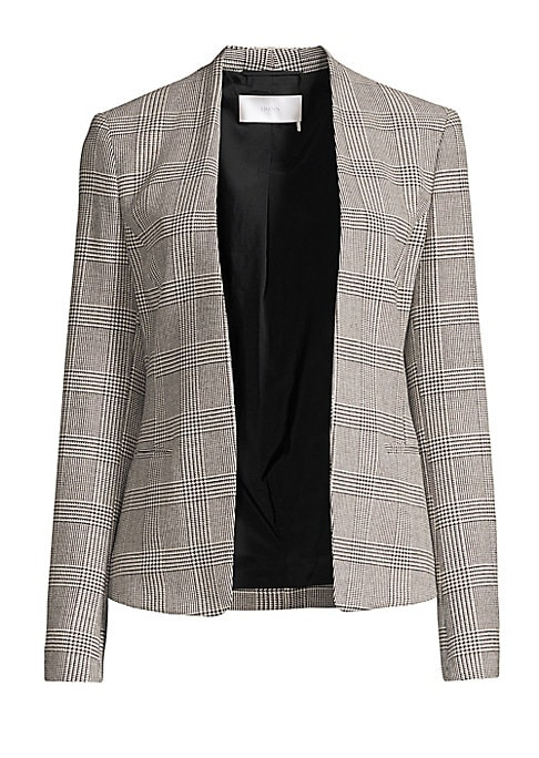 "Image of Elegant glen check jacket lends a timeless element to this open front jacket. Long sleeves. Buttoned cuffs. Open front. Waist welt pockets. Fully lined. Polyester/viscose/wool/elastane. Dry clean. Imported. SIZE & FIT. About 22.8"" from shoulder to hem. Mo"