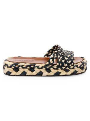CLERGERIE Alize Raffia Platform Slip-On Sandals in Multi