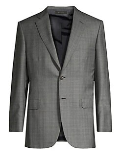 Brioni. Windowpane Wool   Silk Suit Jacket 79123e7fa9143